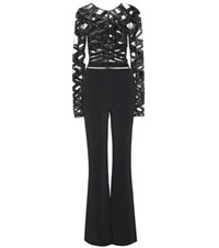 Zuhair Murad Embellished Silk Blend Jumpsuit Black