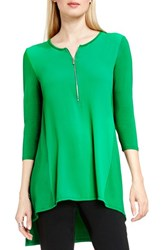 Vince Camuto Women's Half Zip Mixed Media Top Green Pulse