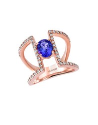 Effy Tanzanite Royale Diamond And 14K Rose Gold Cutout Ring 0.59Tcw Blue