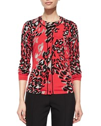 Escada Leopard Print Beaded Neckline Cardigan Multi Colors