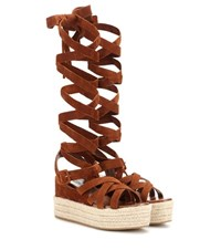 Miu Miu Suede Espadrille Wedge Sandals Brown