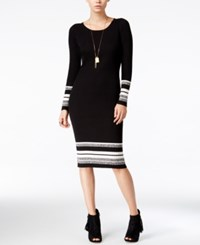 Bar Iii Striped Sweater Dress Only At Macy's Black Combo