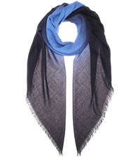 Bottega Veneta Printed Wool Scarf Blue