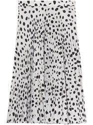 Burberry Dalmatian Print Crepe Pleated Skirt White