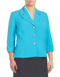 Tahari By Arthur S. Levine Plus Palin Button Front Blazer Capri Blue