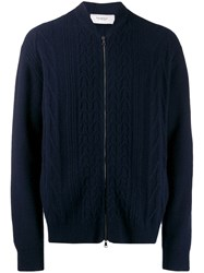 Pringle Of Scotland Zip Cable Knit Cardigan Blue