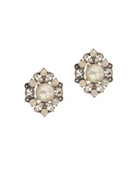 Marchesa Rhodium And Pearl Cluster Silver Plated Button Earrings