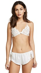 Flora Nikrooz Dotted Netted Bra With Venise Lace Ivory