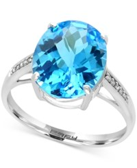 Effy Ocean Bleu Blue Topaz 6 Ct. T.W. And Diamond Accent Ring In 14K White Gold