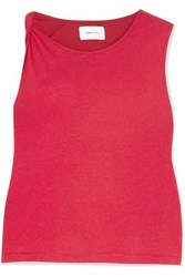 Current Elliott The Tied Up Muscle Linen And Cotton Blend Top Red