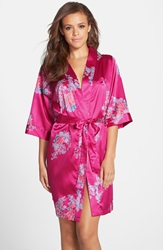 Cathys Concepts Personalized Floral Satin Robe Pink K