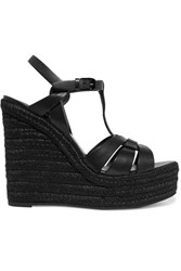 Saint Laurent Tribute Leather Espadrille Wedge Sandals Black