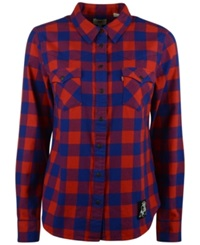 Levi's Women's New England Patriots Plaid Button Up Shirt Red Blue
