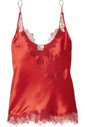Carine Gilson Chantilly Lace Trimmed Silk Satin Camisole Red