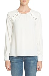 1.State Women's Lace Up Shoulder Blouse