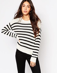 Daisy Street Stripe Crew Jumper With Side Splits Navywithcream