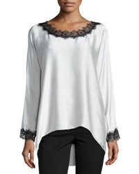 Go Silk Long Sleeve Tunic W Lace Trim Ecru
