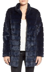 Petite Women's Laundry By Shelli Segal Grooved Faux Fur Coat Navy