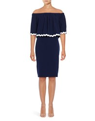 Shoshanna Off The Shoulder Popover Dress Navy