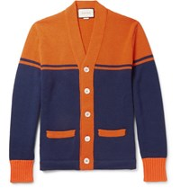 Gucci Embroidered And Appliqued Wool Cardigan Orange