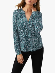Pure Collection Leopard Print Jersey V Neck Top Green Multi