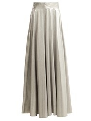 Diane Von Furstenberg Metallic Long Skirt Silver