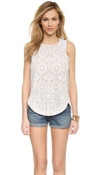 David Lerner Lace Racer Tank White