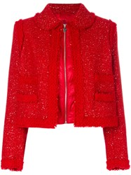 Moncler Gamme Rouge Padded Boucle Jacket Feather Down Polyamide Polyester Virgin Wool Red