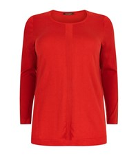 Marina Rinaldi Silk Cotton Side Split Jumper Female Red
