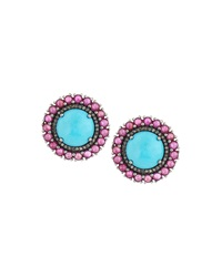 Bavna Turquoise Diamond And Composite Ruby Button Earrings