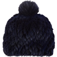 Barneys New York Mink And Fox Fur Knit Beanie Navy