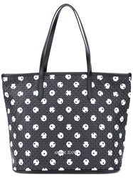 Armani Jeans Perforated Circle Print Tote Women Pvc One Size Black