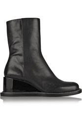 Jil Sander Leather Wedge Ankle Boots Black