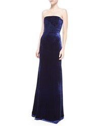 Victoria Beckham Strapless Crushed Velvet Corset Gown