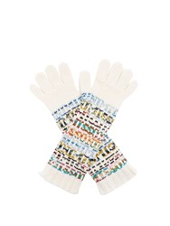 Missoni Logo Knitted Wool Blend Gloves White