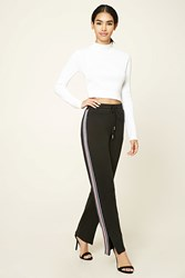 Forever 21 Stripe Trim Zippered Sweatpants Black Navy