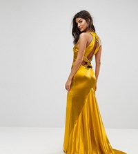 Jarlo High Neck Fishtail Maxi Dress With Strappy Open Back Detail Rich Ochre Orange