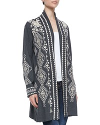 Johnny Was Tulia Embroidered Duster Cardigan Black