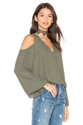Eight Sixty Cut Out Shoulder Top Green