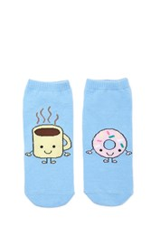 Forever 21 Coffee And Donut Ankle Socks Blue Multi