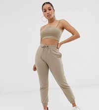 Asos Design Petite Co Ord Basic Jogger With Tie Beige