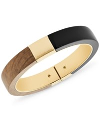 Michael Kors Gold Tone Wood And Acetate Hinged Bangle Bracelet