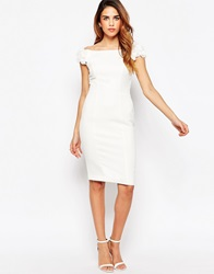Lipsy Off Shoulder Pencil Dress With Ruffle Detail Shoulder Cream