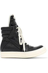 Rick Owens Woman Geobasket Quilted Textured Leather High Top Sneakers Black
