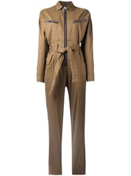 Iro Zipped Belted Jumpsuit Brown