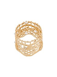 Aurelie Bidermann 'Vintage Lace' Diamond Ring Metallic