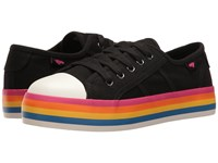 Rocket Dog Magic Black Rainbow Foxing 8A Canvas Women's Lace Up Casual Shoes