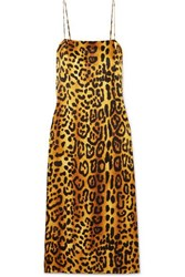 Adam By Adam Lippes Leopard Print Hammered Silk Crepe Dress Brown