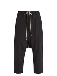 Rick Owens Dropped Crotch Cropped Shell Trousers Black