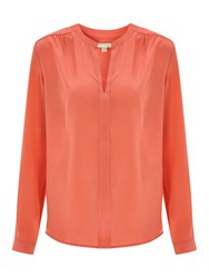 Nougat London Silk Long Sleeve Blouse Coral